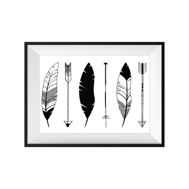 kids print wall décor art nursery art babys room décor whimsical pictures inspirational words feathers arrows boho motif