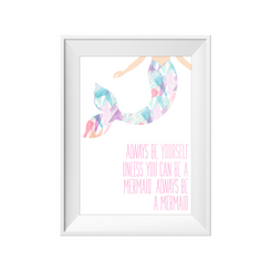 kids print wall décor art nursery art babys room décor whimsical pictures inspirational words mermaid motif
