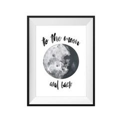 kids print wall décor art nursery art babys room décor whimsical pictures inspirational words moon motif