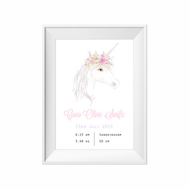 kids print wall décor art nursery art babys room décor whimsical pictures inspirational words birth print customised bespoke birth details unicorn motif