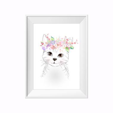 kids print wall décor art nursery art babys room décor whimsical pictures inspirational words kitten motif