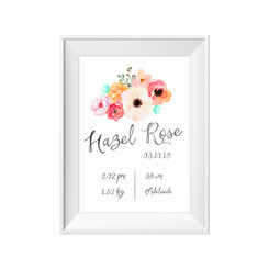 kids print wall décor art nursery art babys room décor whimsical pictures inspirational words birth print customised bespoke birth details floral posie motif