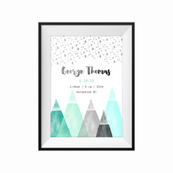 Mountains Birth Print