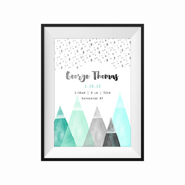 kids print wall décor art nursery art babys room décor whimsical pictures inspirational words birth print customised bespoke birth details mountain motif
