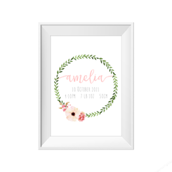 Green and Floral Wreath Personalised or Birth Print
