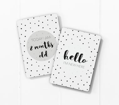 baby milestone card sets  speckles dots motif