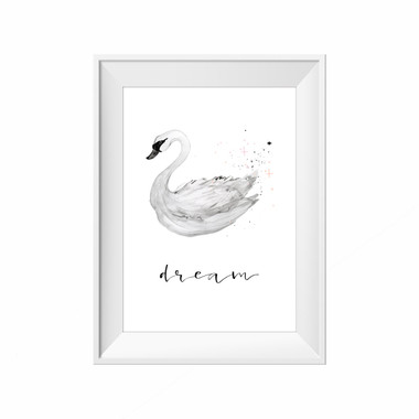 kids print wall décor art nursery art babys room décor whimsical pictures inspirational words swan motif