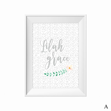 kids print wall décor art nursery art babys room décor whimsical pictures inspirational words customised bespoke leaves speckles motif