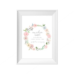 Watercolour Wreath Birth Print