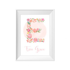 Floral Monogram Personalised Print