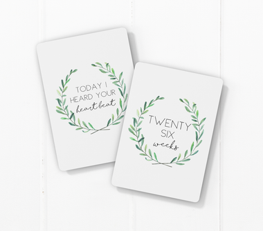 pregnancy milestone card sets  leaf wreath motif