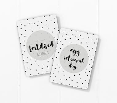 IVF milestone card sets  speckles dots motif