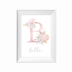 kids print wall décor art nursery art babys room décor whimsical pictures inspirational words customised bespoke flower initial  motif