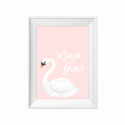 Sleepy swan personalised print