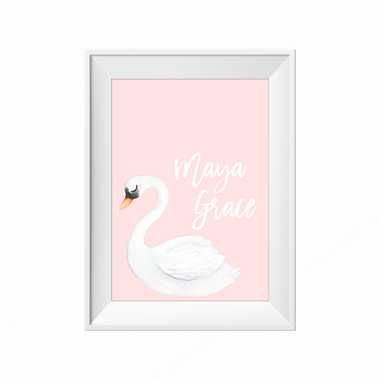 kids print wall décor art nursery art babys room décor whimsical pictures inspirational words customised bespoke swan motif