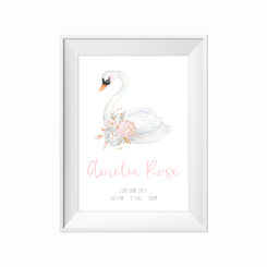 Sleepy Swan Birth Print