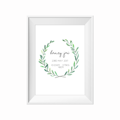 Green Wreath Birth Print