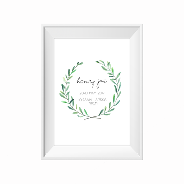 kids print wall décor art nursery art babys room décor whimsical pictures inspirational words customised bespoke birth details green wreath leaf motif