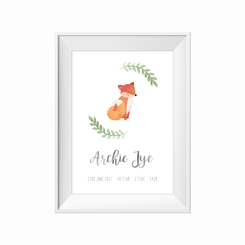 Watercolour woodland fox birth print