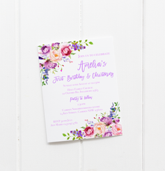 baby party invitation customised tailored invites cards purple flower