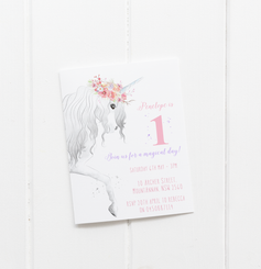 baby party invitation customised tailored invites cards unicorn