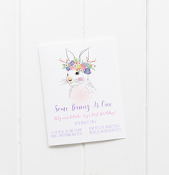 baby party invitation customised tailored invites cards bunny rabbit