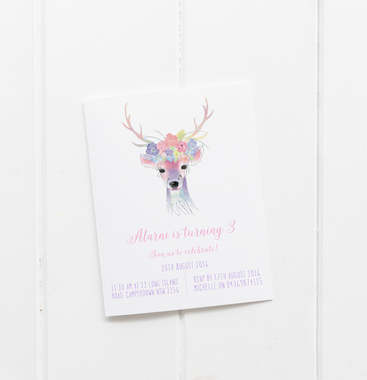 baby party invitation customised tailored invites cards watercolour deer