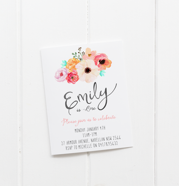baby party invitation customised tailored invites cards floral posie flower