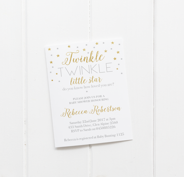 baby party invitation customised tailored invites cards star twinkle twinkle baby shower