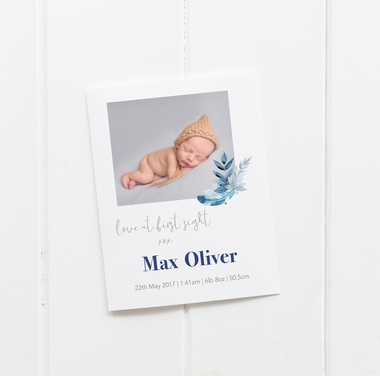baby birth announcement card decks feather motif