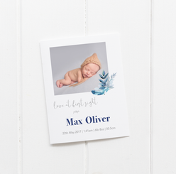 'Love at first sight feather' Birth Announcement Cards