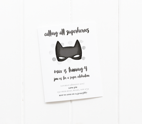 baby party invitation customised tailored invites cards superhero