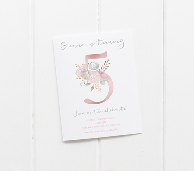 baby party invitation customised tailored invites cards floral letter initial