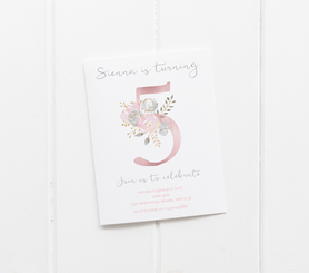 Floral Number Invitation