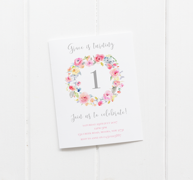 baby party invitation customised tailored invites cards flowers