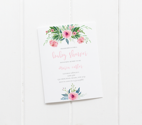 baby party invitation customised tailored invites cards baby shower flowers