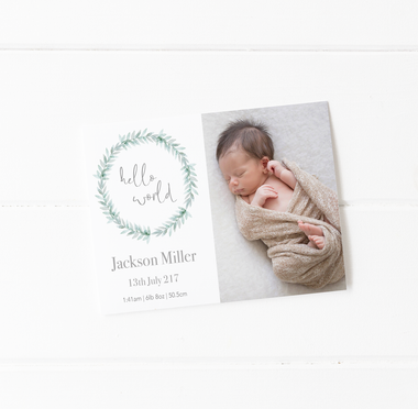 baby birth announcement card decks hello motif