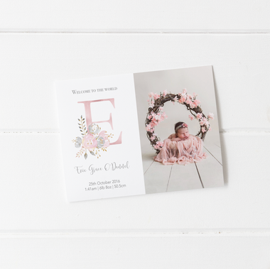 baby birth announcement card decks flower motif