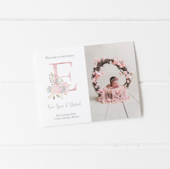 Floral Initial Welcome to the World Birth Annoucement Cards
