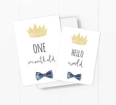 baby milestone card sets  prince crown motif
