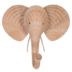 Wicker Elephant Wall Decor