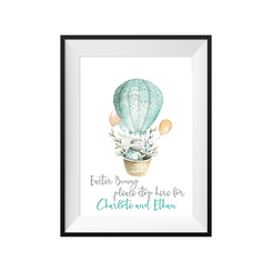kids print wall décor art nursery art babys room décor whimsical pictures inspirational words customised bespoke easter bunny motif