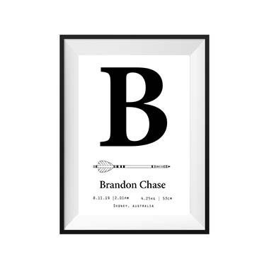 kids print wall décor art nursery art babys room décor whimsical pictures inspirational words birth print customised bespoke birth details black and white initial motif
