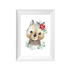 Wombat with Wreath Print