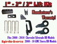 """00 - 10 CHEVY GMC 2500 3500 HD Silverado Sierra 3"""" Keys + 3"""" Blocks + Ext + TOOL"""