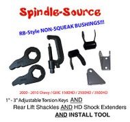 00 - 10 Silverado Sierra 2500 3500 HD Torsion Keys + SHACKLES + TOOL + Extenders