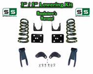 "02 - 08 Dodge Ram 1500 V6 3"" / 5"" Lowering Drop Kit 2WD Coils Flip Shackles, EXT"