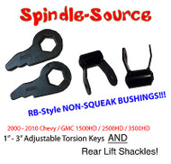 "00-10 Chevy GMC 2500 3500 HD Silverado Sierra 1"" 3"" Torsion Keys + REAR SHACKLES"