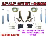 03 - 08 Dodge Ram 2500 3500 (1500 MEGA CAB) 2WD 5.5 / 2.5 LIFT KIT SHOCKS (UB-I)