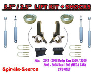03 - 08 Dodge Ram 2500 3500 (1500 MEGA CAB) 2WD 5.5 / 2.5 LIFT KIT SHOCKS (UB-H)